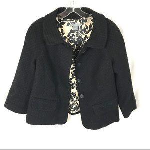 Ann Taylor 3/4 sleeve collared solid black blazer